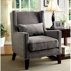 Furniture of America Emilla High Back Accent Chair (Grey) (Fabric)