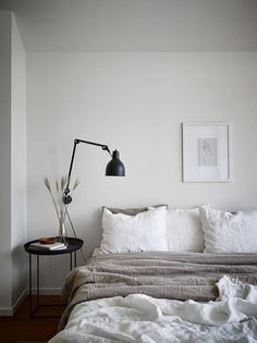 Neutral bedroom with a balcony view is part of Neutral bedroom Bohemian - I like this minimal bedroom look in tints of beige combined with black accents The bei Scandinavian Bedroom, Cozy Bedroom, Home Decor Bedroom, Bedroom Ideas, Master Bedroom, Bedroom Inspiration, Scandinavian Style, Bedroom Country, Ikea Bedroom