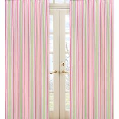 Add this 84-inch curtain panel set from Sweet JoJo Designs to your room and enjoy a light and bright flair to your decor. These panels feature a 1.5-inch rod pocket and an unforgettable vertical stripe pattern in pink, green, and white.