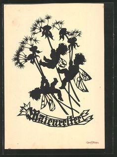 """Georg Plischke silhouette postcard  (German) """"May riders"""""""