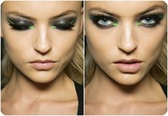 Make-up: A hint of neon green eyeliner on a smokey eye.