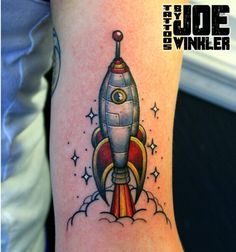 Really fun #rocket tattoo done on @killfieldhat yesterday! Thanks for looking…                                                                                                                                                                                 More