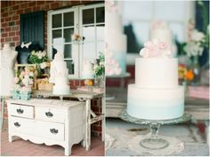 The cake is going to go on a white dresser that my dad is building like this! So cute, right?!