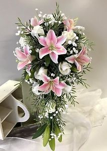 Details About Silk Wedding Bouquet Pink Lily Cream Roses White