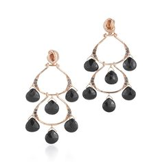18k rose gold black spinel cascading chandelier earrings