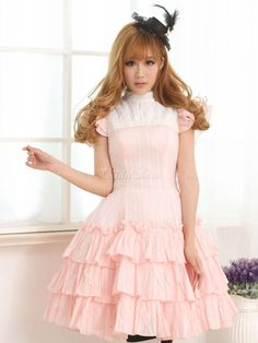 Pink Cotton Lolita One-piece Dress Layered Ruffles Lace Up - Lolitashow.com