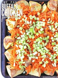 """An easy meal when you open the fridge to find """"nothing"""" and it only uses one pan! One-pan Buffalo Chicken Potatoes is like chicken wings meets french fries."""