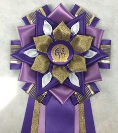 with gold accent Ribbon Rosettes, Ribbon Art, Diy Ribbon, Ribbon Crafts, Homecoming Mums Senior, Homecoming Corsage, Homecoming Garter, Diy Birthday Pin, Purple Birthday
