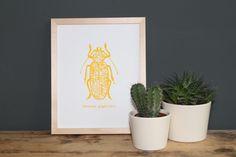 """""""Titanus giganteus"""" ist ein von Hand gefertigter Siebdruck nach eigenem Motiv  auf fein strukturiertem Aquarellpapier.  www.blaurotgrau.blogspot.de"""