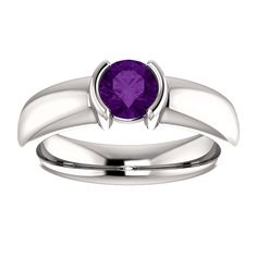 14kt White Gold 5.5mm Center Round Amethyst Engagement Ring...(ST122062:351:P).! Price: $499.99 #diamonds #ring #gold #bezelring #fashion #jewelry #jemstone