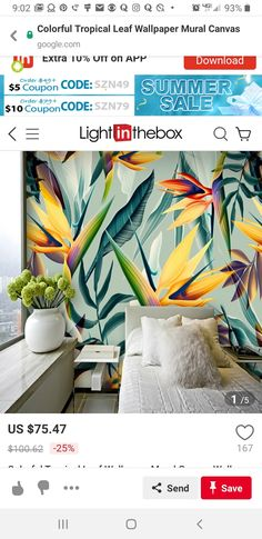 Wallpaper Art, Tropical Leaves, Art Deco, Tapestry, Canvas, Color, Hanging Tapestry, Tela, Colour
