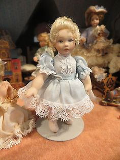 Dollhouse Miniature Artisan Lynne Brown Signed Porcelain Adorable Girl Blue Doll | eBay