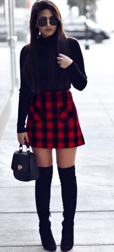 #pretty #winter #outfits /  Black Turtleneck // Tartan Plaid Skirt // Black OTK Boots