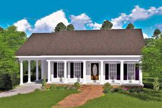 Plan The Perfect Cottage The covered front porch welcomes you into this country cottage. The great room features a wall with a built-in entertainment unit and upper/lower cabinets for storage. The kitchen/dining area is open and airy – perfect for Country Style House Plans, Cottage House Plans, Small House Plans, Cottage Homes, Country Homes, Architectural Design House Plans, Architecture Design, Large Laundry Rooms, Farmhouse Plans