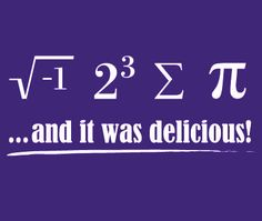 I ate some pie is what it says.  That's one funny math shirt...Even though math is somewhat boring..