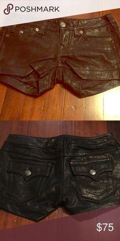 "c4c30cd256 Black leather True Religion shorts Low rise. 3"" inseam. Excellent  condition. True"
