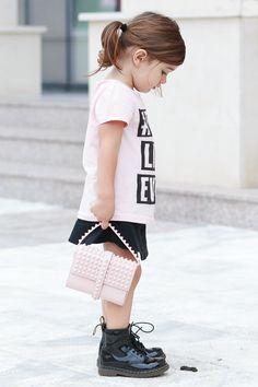 #MissKaira Pink studded Zara bag and black patent Dr. Martens  #kidstyling #kidsfashion #kidblogger