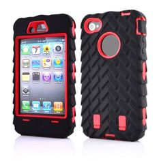 i4G Tire Dual Layer Silicone Hard Plastic Armor Hybrid Protection Plastic Case For Apple iPhone 4 4G 4S Mobile Phone Back Cover