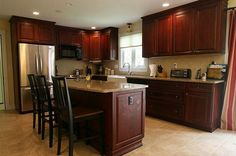 Dark Cabinets, Lt Counter, Floor, Walls - pictures of kitchens with cherry cabinets | Cherry Kitchen Cabinets Images / Designs Ideas and Photos of House ...