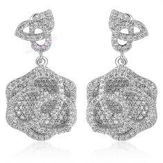 Silver Tone Swarovski Crystal Camellia Dangles Earrings Christmas Lady Gift E531 #Bearfamilybirth #DropDangle