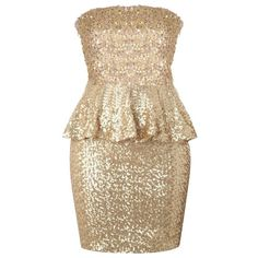 Gold Peplum Dress ($100) ❤ liked on Polyvore