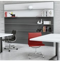 ZEFIRO design bookcase wall's structure with glass shelves Bookcase Wall, Glass Shelves, Showroom, Office Desk, Conference Room, Design, Furniture, Home Decor, Desk Office