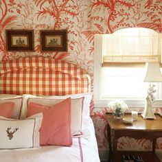Bedroom with B&F Bird & Thistle wallpaper, buffalo check headboard - Kate Ives Marshall Brunschwig Bird & Thistle wallpaper Beautiful Dining Rooms, Beautiful Bedrooms, Nice Bedrooms, Buffalo Check, Bedroom Red, Bedroom Decor, Master Bedroom, Bedroom Ideas, Red Paint Colors