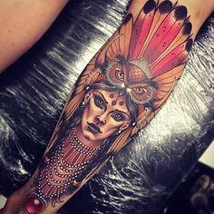 tatuajes coloridos para hombres de indigenas