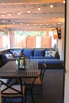 String lights patio lighting ideas i love my screened in patio cant wait to use it again this spring summer rustic home decor stores near me Enclosed Patio, Screened In Patio, Back Patio, Backyard Patio, Backyard Ideas, Screened Porch Furniture, Enclosed Carport, Diy Patio, Landscaping Ideas