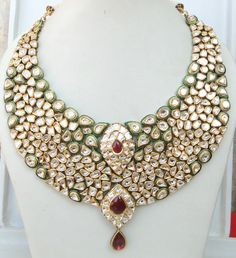Real Polki Jewelry | ... ANTIQUE HUGE 20K GOLD DIAMOND POLKI KUNDAN ENAMEL WORK NECKLACE INDIA