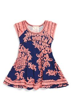 Pink Vanilla Ruffle Print Skater Dress (Baby Girls) available at #Nordstrom