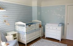 Cute Boy Nursery Ideas and Decorations: Stylish Sky Blue With Trees Wall Decals And White 4 In 1 Convertible Crib Fixed Side And Blue Strip Rug And Baby Dresser In Blue Boy Nursery Decoration Designs
