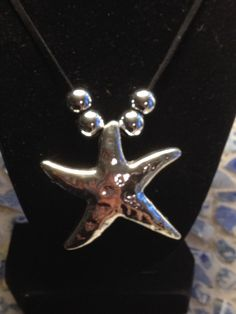 Beautiful Starfish Pendant on black cord by BlessMyNestShop, $30.00