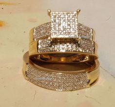 14K Yellow Gold Over Trio His And Her Wedding Bridal Engagement Ring Set 3.00 CT #Aonedesign #WeddingEngagementAnniversaryPromiseGift