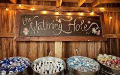 Country wedding drink place, Love the watering hole sign Farm Wedding, Chic Wedding, Wedding Signs, Wedding Bells, Perfect Wedding, Dream Wedding, Wedding Day, Wedding Ceremony, Wedding Country