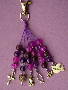NEW Handbag Charm - Faith, Peace, Love - Beaded Charm by RubysCharms, £5.99