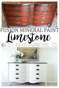 Fusion Mineral Paint Limestone is a beautiful creamy white! Read this post and learn how to create this gorgeous two tone dresser! White Painted Furniture, Refurbished Furniture, Colorful Furniture, Paint Furniture, Repurposed Furniture, Cool Furniture, Kitchen Furniture, Garden Furniture, Dresser Repurposed