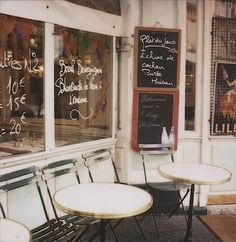 French Coffee House.. Window writing and bistro tables