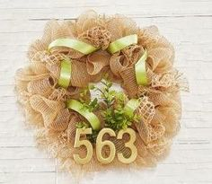 Natural Burlap and Mesh Home Address Wreath