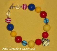 Girls Chunky Bubblegum Style Beaded Necklace with Jewel Pendant Inspired by Snow White by ABC Creative Learning