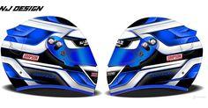 """Helmet design for Seb Perez.  A matt finished design of white, blue and black.  #simpsondevilray #simpson #helmetdesign #helmet #arai #racing #jmotorsport…"""