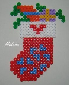 Kids Craft - Perler Hama Fuse beads - Christmas Holiday stocking