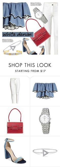 """Denim"" by jomashop ❤ liked on Polyvore featuring HUISHAN ZHANG, Valentino, Longines, GUESS, Versace 19•69, red, Blue and whitejeans"