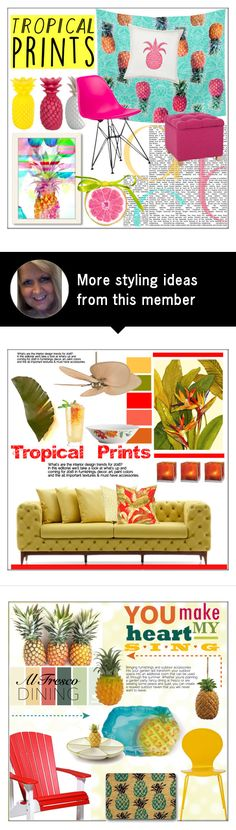 """""""Tropical Prints At Home"""" by pat912 on Polyvore featuring interior, interiors, interior design, home, home decor, interior decorating, Greendale Home Fashions, Sunnylife, New Look and Americanflat"""