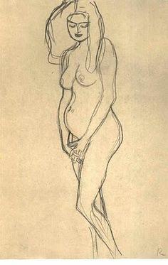 nude sketch by Gustav Klimt via Wandering teh Dream Space Figure Painting, Figure Drawing, Painting & Drawing, Amazing Drawings, Art Drawings, Franz Josef I, Klimt Art, Life Drawing Classes, Erotic Art