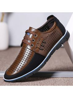 Mens Retro Closed Toe Business Formal Lace Up Hollow Out Leather Sandals Shoes