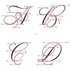 -D flourished Copperplate with vector points Tattoo Fonts Alphabet, Hand Lettering Alphabet, Script Lettering, Brush Lettering, Copperplate Calligraphy, Calligraphy Handwriting, Calligraphy Letters, Penmanship, Calligraphy Practice