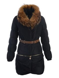 Moncler Gerbille Fur Collar Belt Parka Women Black  199.99 Manteau Moncler,  Cheap Winter Jackets, 6104a946316