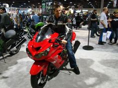 Trying on a 2013 Kawasaki ZX-14 for size.