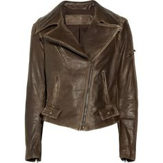 Donna Karan Washed-leather biker jacket (€945) ❤ liked on Polyvore featuring outerwear, jackets, casacos, leather jackets, tops, dark brown, zipper jacket, real leather jackets, leather moto jacket and brown moto jacket